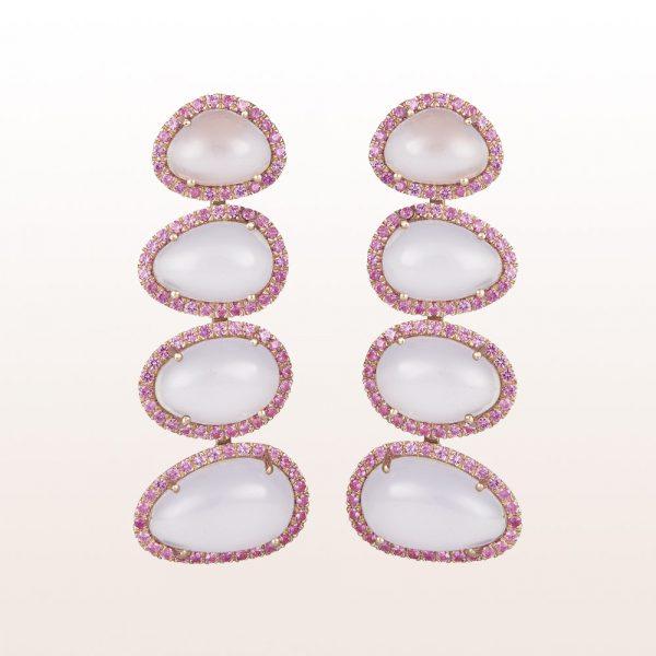 Ohrgehänge mit Chalzedonen und rosa Saphir 1,36ct in 18kt Roségold