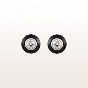 Ohrstecker mit Brillanten 0,92ct und Onyx (abnehmbar) in 18kt Weißgold