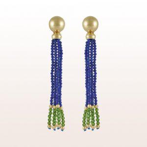 Ohrgehänge mit Lapis Lazuli, Diopsid und Goldkugeln in 18kt Gelbgold