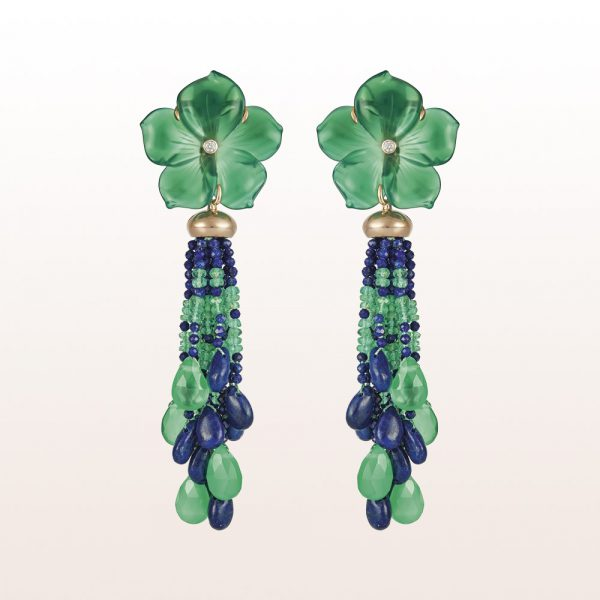 Earrings with green agate, lapis lazuli, emerald and brilliants 0,07ct in 18kt rose gold